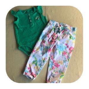 Carter's Top & Pants Outfit Girls 24M